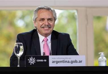 El mandatario en la residencia presidencial de Olivos. Foto AFP