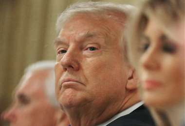 Trump participa de un evento en la Sala Este de la Casa Blanca. Foto AFP