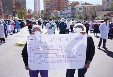 La protesta en el Hospital Obrero. APG Noticias
