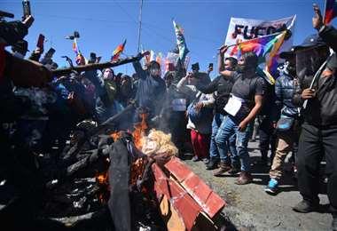 Allegados al MAS protestaron esta semana en El Alto. APG Noticias