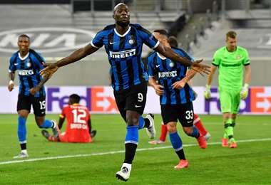 El festejo del delantero belga Romelu Lukaku, del Inter de Milán. Foto: AFP