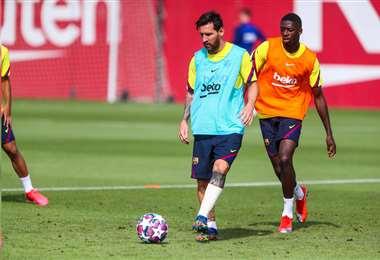 Lionel Messi en la sesión de entrenamiento de este miércoles. Foto: @Barcelona_es