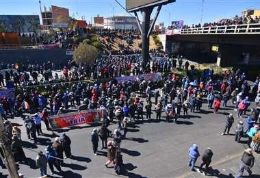 Se concentraron el La Ceja de El Alto y respaldan al sector campesino. Foto: APG Noticias