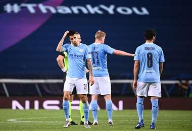 Manchester City perdió este sábado ante Lyon y suman otra decepción en la Champions. No pudieron llegar a semifinales. Foto: AFP