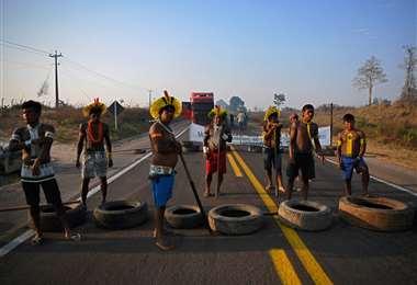 Miembros de la tribu Kayapo bloquean una carretera en Pará, en contra de la deforestación y ayuda contra la pandemia. Foto AFP