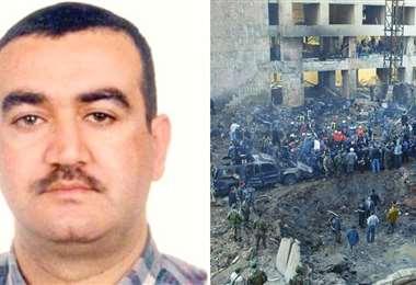 El hombre condenado y el lugar del atentado contra el ex primer ministro hace 15 años. Foto AFP