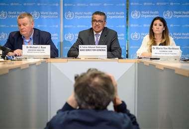 Teleconferencia de la OMS. Foto AFP