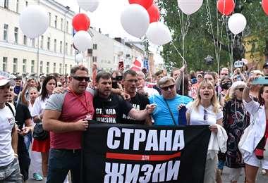 Marcha de opositores en Kiev. Foto AFP
