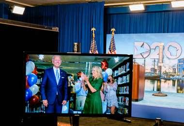 Biden fue nominado el martes oficialmente candidato a la presidencia. Foto AFP