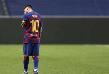 Messi terminó frustrado tras ser humillado por el Bayern Múnich. Foto: AFP