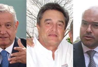 Andrés Manuel López Obrador, su hermano Pío y David León. Foto Internet