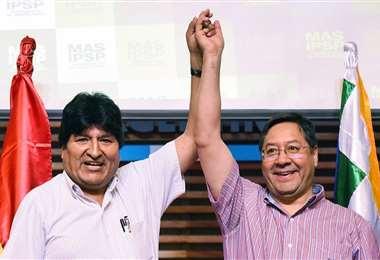Morales, junto con el candidato masista, Luis Arce Catacora/Foto: APG