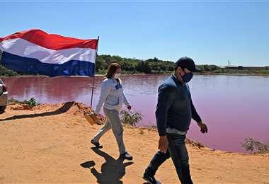 La laguna contaminada. Foto AFP