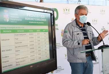 Alpiré dando su informe sobre el clima/Foto Gobernación