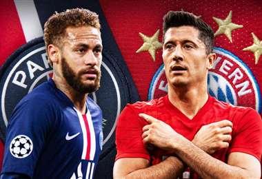 Neymar y Lewandowski son las figuras del PSG y del Bayern, respectivamente. Foto: Internet
