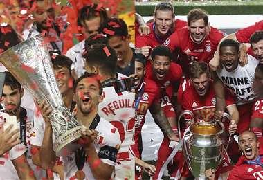 El Sevilla y el Bayern Múnich, en plena celebración. Foto: AFP