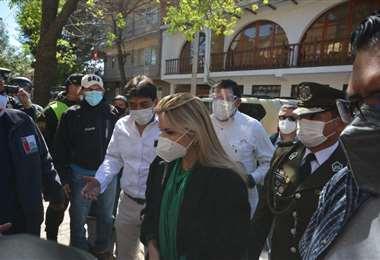 La Presidenta Añez estuvo este martes en Tarija.  Foto APGNoticias