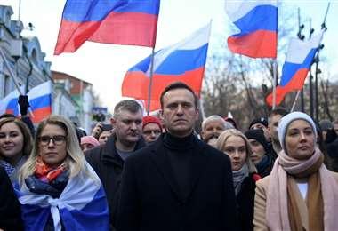 Nalvany (centro) es uno de los principales opositores del Gobierno ruso
