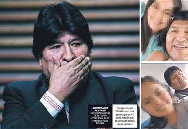Fotografías de Morales con una joven. Foto: AFP
