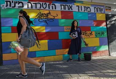 Protesta contra el abuso a mujeres en Tel Aviv. Foto AFP