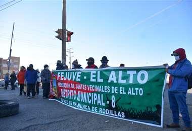Bloqueo en la ciudad de El Alto. Foto APG Noticias