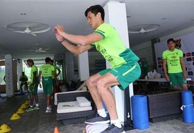 La Verde trabajó este lunes en la mañana en el gimnasio. Foto: Prensa FBF