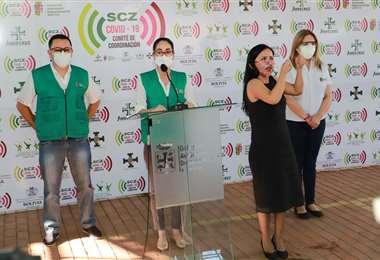 Tatiana Áñez en plena conferencia (Foto: Gobernación)