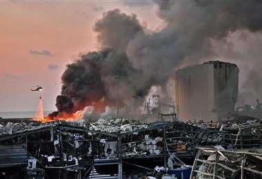 El lugar de la explosión. Foto AFP