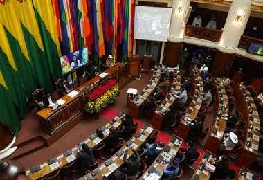 La Asamblea no escuchó el informe de Añez. Foto: APG Noticias