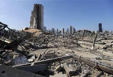 Devastación por la explosión. Foto AFP