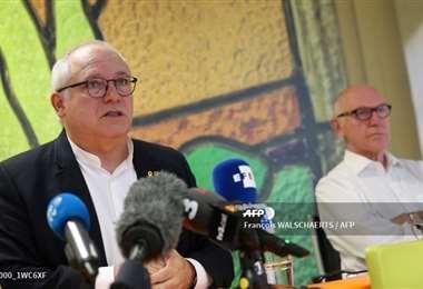 Lluis Puig en la conferencia de prensa en Bruselas. Foto AFP