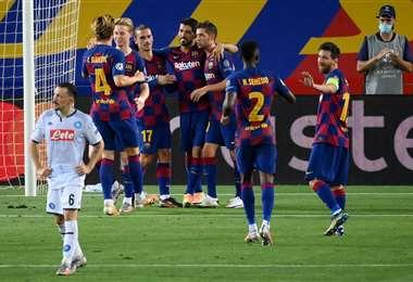 La felicidad de los jugadores del Barcelona, que el viernes enfrentarán al Bayern por cuartos de final de la Champions. Foto: AFP