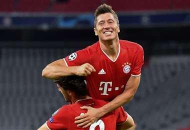 La celebración de Robert Lewandoski, el goleador del Bayern Múnich. Foto: AFP