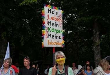 Manifestación contra las restricciones en Berlín. Foto AFP