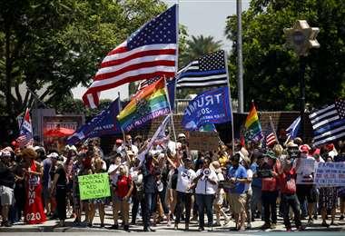 Manifestación en apoyo al presidente Trump en California. Foto AFP
