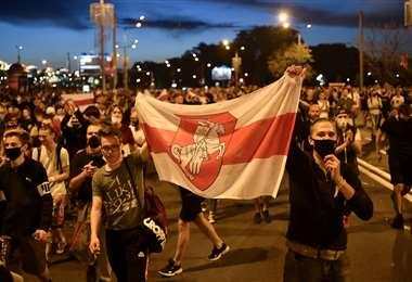 Opositores salieron a las calles en Minsk. Foto AF