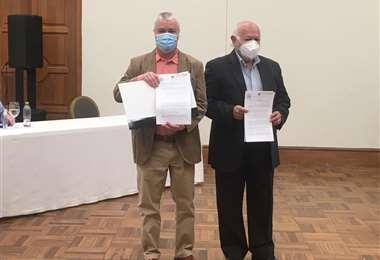 Añez y Núñez, nuevos directivos de la estatal/Foto: ABI