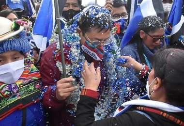 Eva Copa y Luis Arce en El Alto (Foto: APG Noticias)