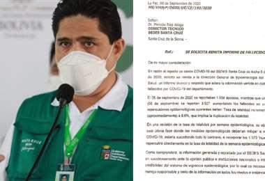 Marcelo Ríos y la imagen del documento enviado por Virgilio Prieto