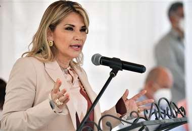 La presidenta Jeanine Áñez en Tiquipaya. Foto: ABI