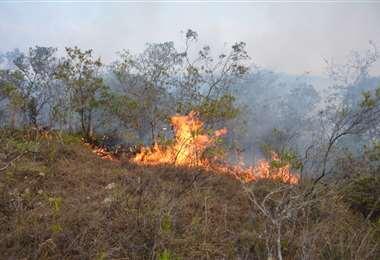 El fuego es reactivado por los fuertes vientos /Foto: Alcaldía de Vallegrande