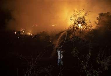 En precarias condiciones se combate el fuego en el Pantanal. Foto AFP
