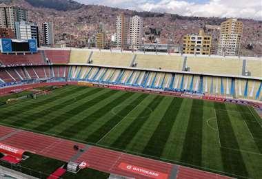 Así Luce el estadio Hernando Siles a pocas horas del partido entre Bolívar y Palmeiras.