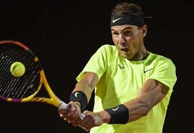 Rafael Nadal, tenista español que participa en el Master de Roma. Foto. AFP