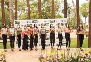 Las candidatas a Miss Santa Cruz en el Parque Ecológico de Warnes