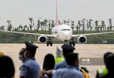 El avión de la aerolínea surcoreana de bajo costo T'way. Foto AFP