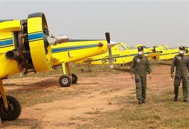 Estas son las aeronaves Air Tractor AT 501 que combatirán al fuego. Foto: Ipa Ibañez