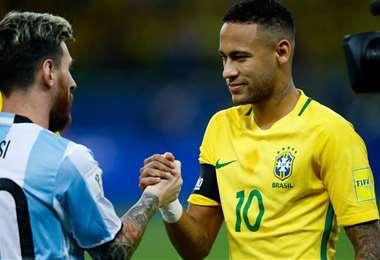 Messy y Neymar, figuras de Argentina y Brasil, respectivamente. Foto: internet