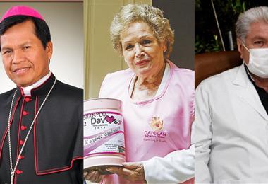 Monseñor René Leigue, Dora Luz Revuelta de Dávila y Herland Vaca Díez. Foto. Internet