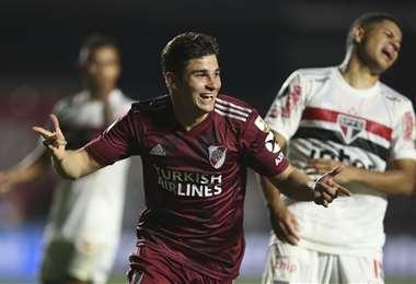 Álvarez hizo este jueves el segundo gol de River Plate. Foto: AFP